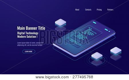 Online Paycheck, Isometric Payment Report, Online Payment, Mobile Phone Screen Text Message, Notific