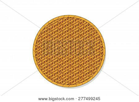 Top View, Isolated Circle Rattan Tray, Vector Art