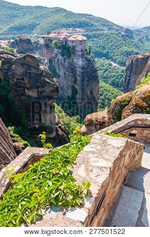 Meteora, Greece - June 16, 2013: Panoramic View From Meteoron Monastery Cliff Stone Stairs On Scenic