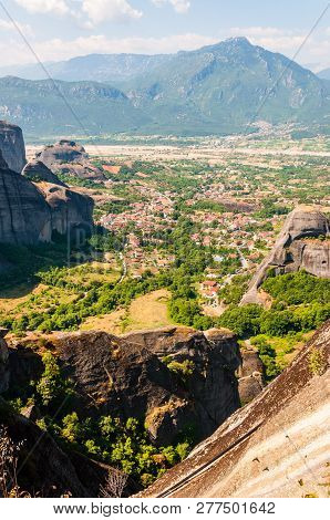 Meteora, Greece - June 16, 2013: Panoramic View Of Scenic Meteora Rock Formations Landscape And Vall
