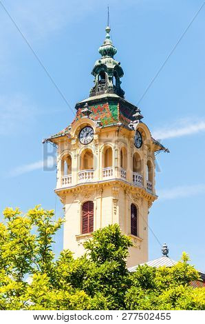 Szeged, Hungary - June 18, 2013: The Tower Of The Town Hall In Szeged. The Present City Hall Is The