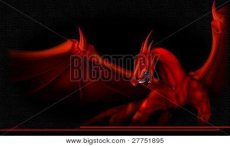 dragon red on black