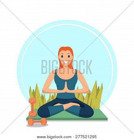 Morning Workout Fitness Happy Girl In City Park. Image Character Smiling Young Girl Sitting In Lotus