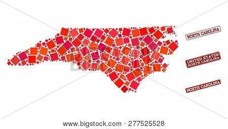 Geographic Composition Of Dot Mosaic Map Of North Carolina State And Red Rectangle Grunge Seal Stamp