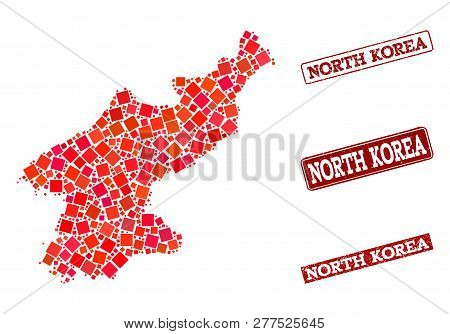 Geographic Collage Of Dot Mosaic Map Of North Korea And Red Rectangle Grunge Seal Stamp Imprints. Ve