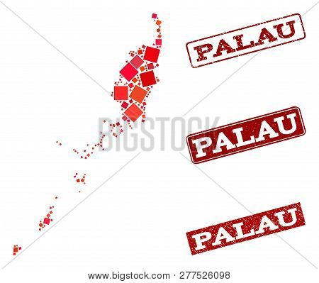 Geographic composition of dot mosaic map of Palau Islands and red rectangle grunge seal watermarks. Vector map of Palau Islands created with red square elements. Flat design for geographic posters. poster
