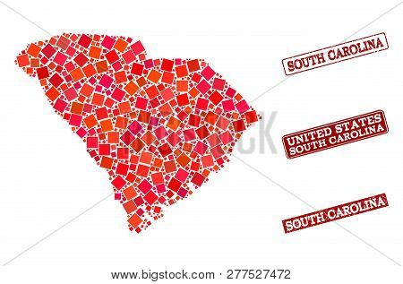 Geographic Collage Of Dot Mosaic Map Of South Carolina State And Red Rectangle Grunge Stamp Imprints
