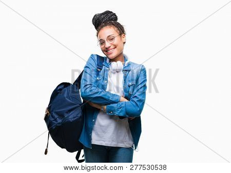 Young braided hair african american student girl wearing backpack over isolated background happy face smiling with crossed arms looking at the camera. Positive person.