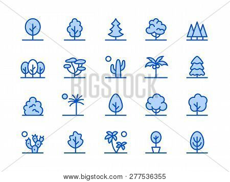 Trees, Plants Blue Line Icon. Vector Illustration Flat Style. Included Icons As Fir Tree, Palm, Park