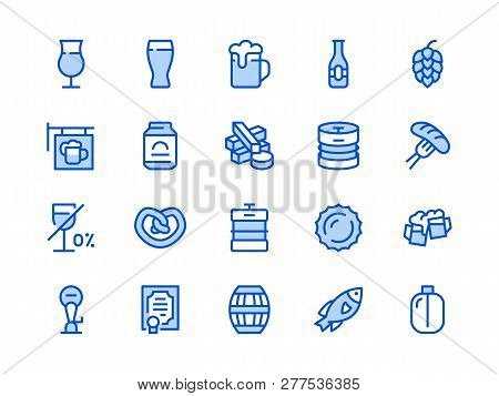 Beer Blue Line Icon. Vector Illustration Flat Style. Included Icons As Bar Signboard, Snacks, Non-al