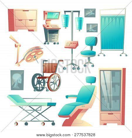 Vector Medical Surgery, Traumatology Set, Cartoon Hospital Equipment. X-ray Examination, Wheelchair