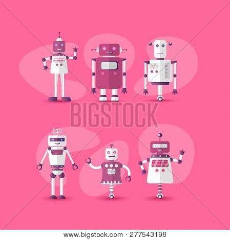 Retro Vintage Funny Vector Robot Set Icon In Flat Style Isolated On Pink Background. Gradient Modern