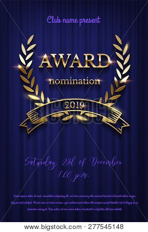 Golden Award Sign With Laurel Wreath And Ribbon Isolated On Blue Curtain Background. Vector Vertical