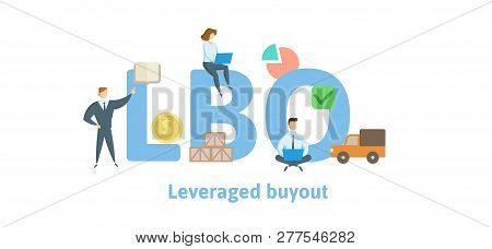 Lbo, Leveraged Buyout. Concept With Keywords, Letters And Icons. Flat Vector Illustration. Isolated