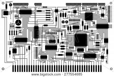 Electronic Circuit Board Vector Background, Elecrical Parts, Circuit Board