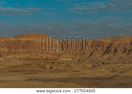View From A Hot Air Ballon, The Deir Al-bahari Complex And  Tombs In The Queens Valley, Luxor, Egypt