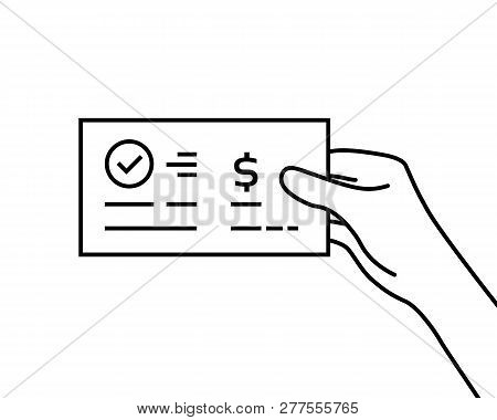 Black Contour Hand Holding Bank Check. Concept Of Global Electronic Banking Or Paycheck In Woman Arm