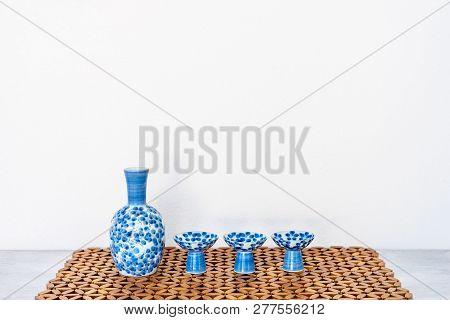 Close Up Of Japanese Sake Drinking Set On Table