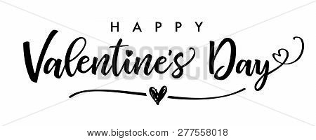 Happy Valentines Day Elegant Black Lettering Banner. Valentine Luxury Greeting Card Template With Gr