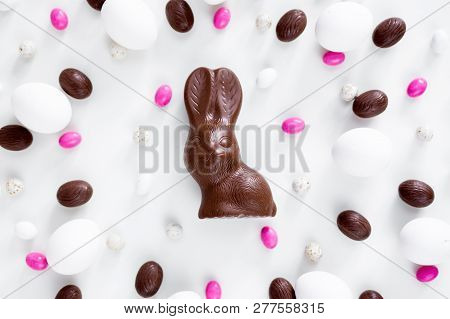 Easter Concept - Close Up Of Chocolate Bunny, Eggs And Sweets Over White Background