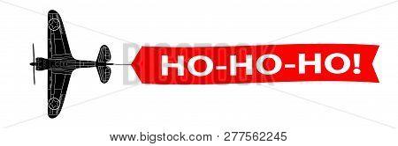 Ho-ho-ho Banner Stripe With Army Aeroplane H Texto-ho-ho!