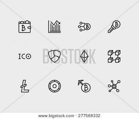 Crypto Currency Icons Set. Stock Price And Crypto Currency Icons With Ico Token, Transaction And Min