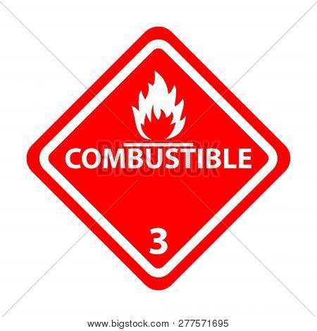 Combustible Level3 Attention Vector Sign Sticker Isolated