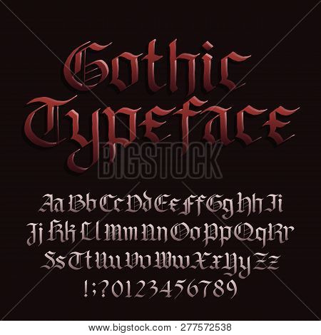 Gothic font alphabet font. Blackletter fracture letters symbols and numbers. Stock vector typescript for your design. poster