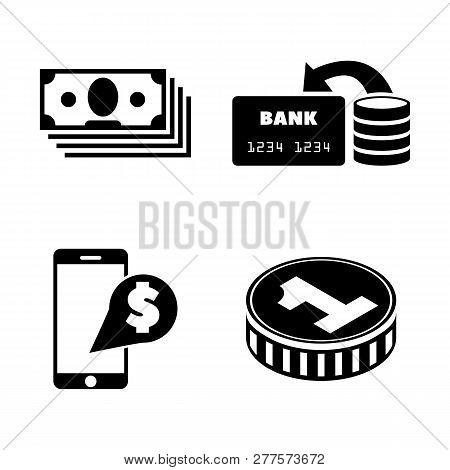 Dollar Money Cash. Simple Related Vector Icons Set For Video, Mobile Apps, Web Sites, Print Projects