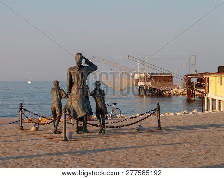 Cesenatico, Italia - August 21, 2010: Monument On The Square Spouses Of The Seamen At The Adriatic S