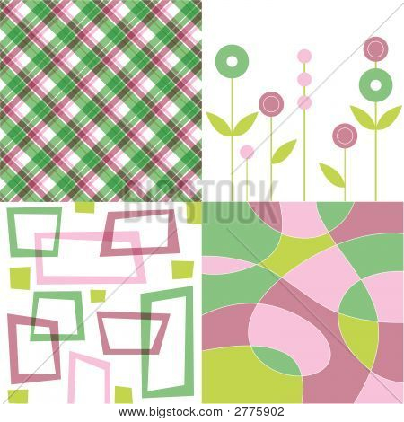 Retro Dusky Pink And Green Plaid, Flower, Square And Squiggle Quads (Vector)