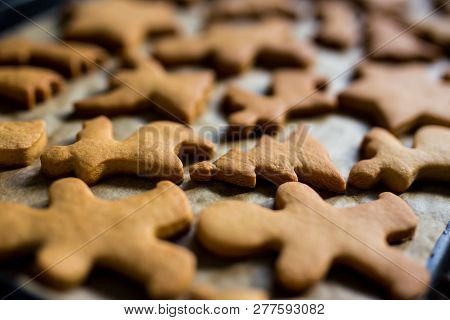 Close Up Of Cookies Or Gingerbreads In Hot Oven