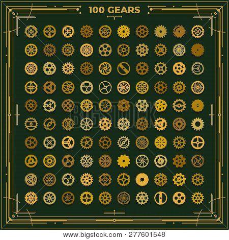 Steampunk Gears Set Victorian Era Vintage Design Style Clockwork Illustration Metal Cogs Elements On