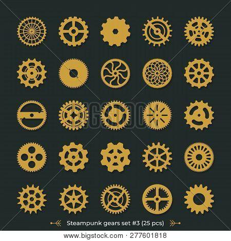 Vector cogwheels on dark green background Steampunk gears set victorian era illustration design elements great for laser or vinyl cut poster