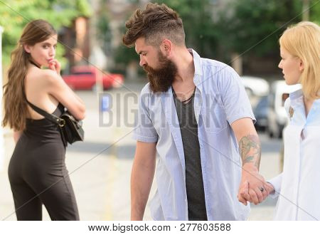 Flirting In The Street. Love Triangle And Threesome. Man Cheating His Girlfriend. Bearded Man Lookin