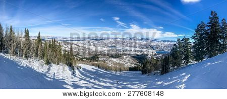 Panoramic View Of Wasatch Mountains. Deer Valley Resort.
