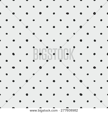 Tile Vector Pattern With Black Polka Dots On Grey Background For Seamless Decoration Wallpaper