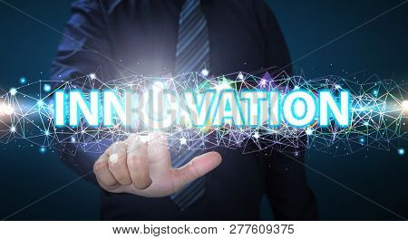 Innovation Concept. Businessman Touching Button Turn On Innovation