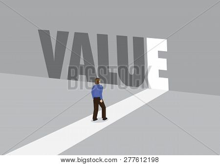 Businessman Walking Towards A Light Path With The Text Value. Business Concept Of Corporate Value. V