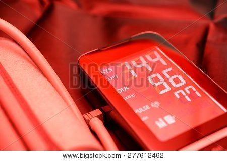 Equipment For Measuring Blood Pressure In Red Colors.