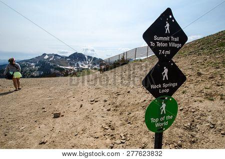 July 20 2017 - Jackson Hole Wyoming: Signs For The Trail Heads In Jackson Hole Wyoming Leads Into Th