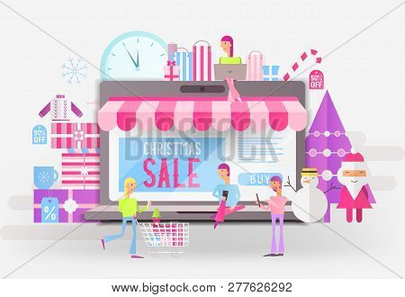 E-commerce Christmas Sale Banner - Santa Claus, Snowman And Young People Who Do Online Mobile Shoppi