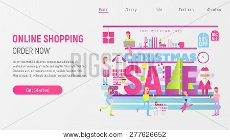 Christmas Shopping Landing Page - Online Holidays Purchases Template. Modern Flat Design - People Ma