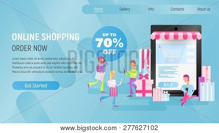 Online Shopping Landing Page. E-commerce Concept. Young People Making Purchases Using Mobile Phones