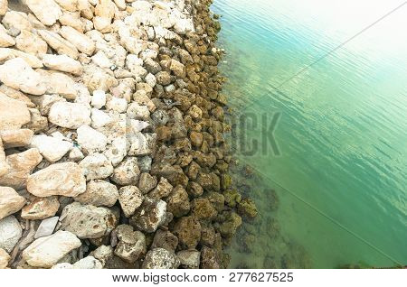 Rocks Ind Water Sea, Green Water With Rocks