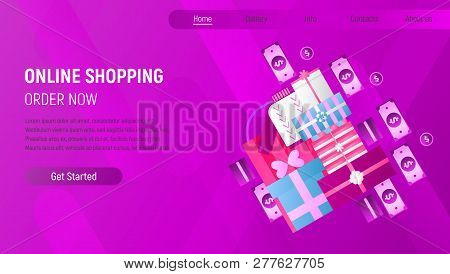 Online Shopping Landing Page. E-commerce Concept. Shopping Boxes And Bags, Money, Banknotes On Viole