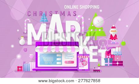 Christmas Market Online Shopping Landing Page. E-commerce Fair Concept. Shopping Boxes And Bags Near