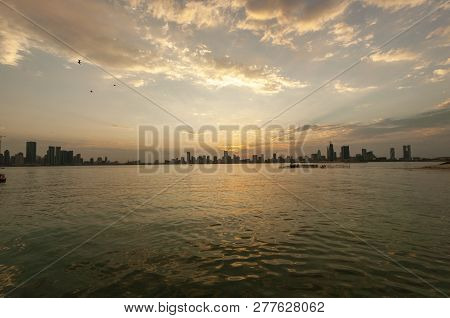 Manama City At Sunset From The Boat, Bahrain Travel