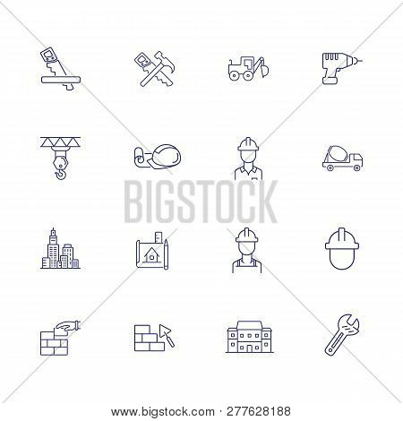 Construction Site Line Icon Set. Architect, Blueprint, Concrete Mixer, Brickwork. Construction Conce