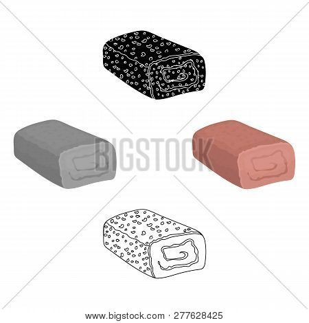 Meatloaf Icon In Cartoon Style Isolated On White Background. Meats Symbol Stock Vector Illustration